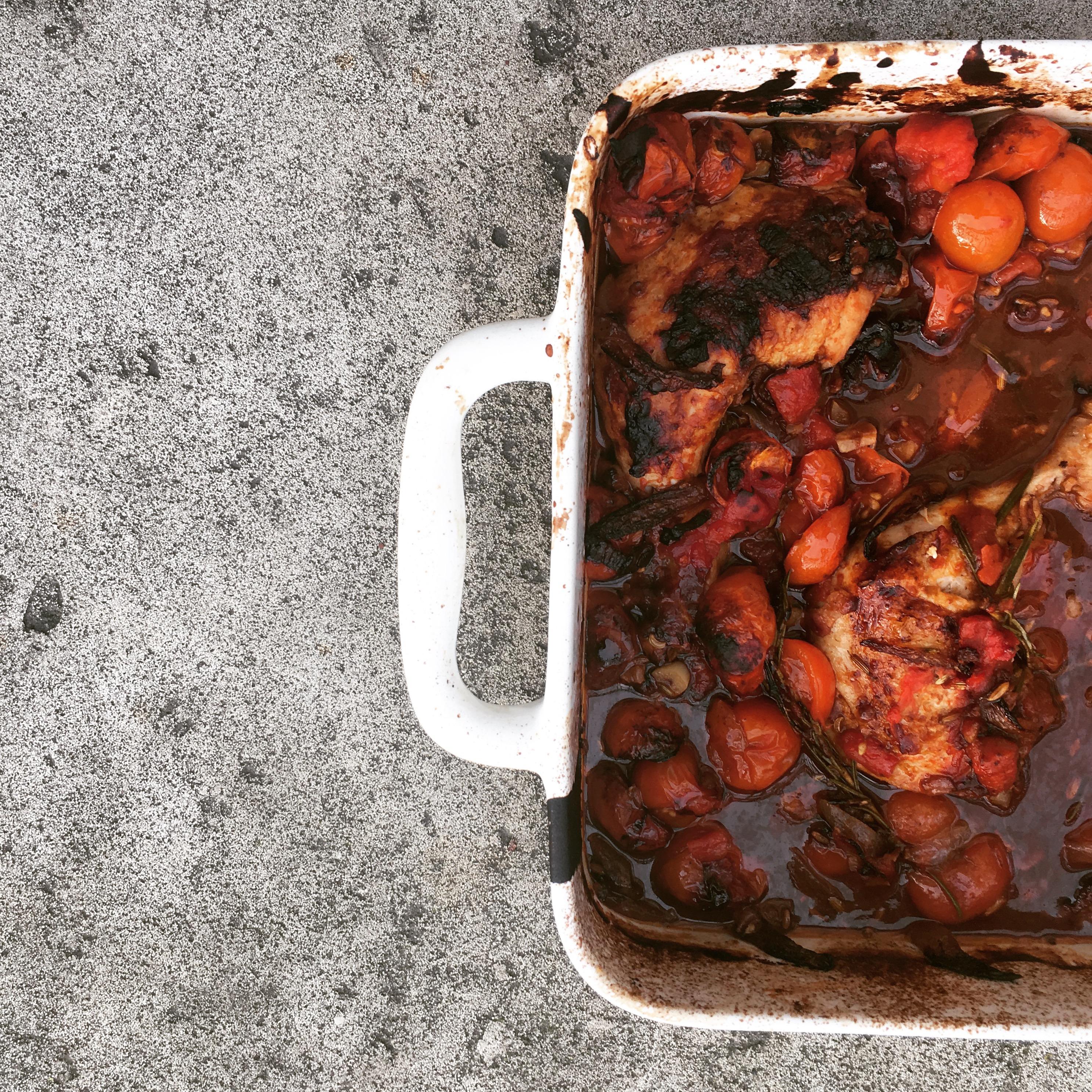 Italië  Toscaanse kip met pancetta en rozemarijn